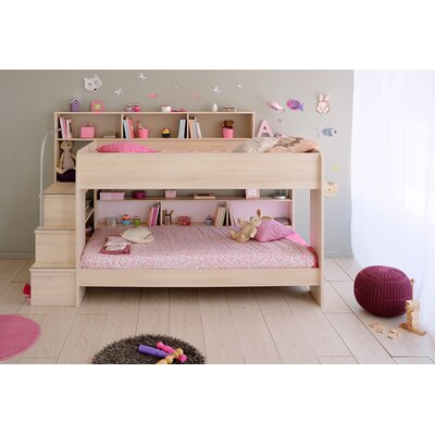 Bibop 2 Twin over Twin Bunk Bed with Trundle Color: Acacia