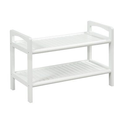 Abingdon Wood Storage Bench Color: White