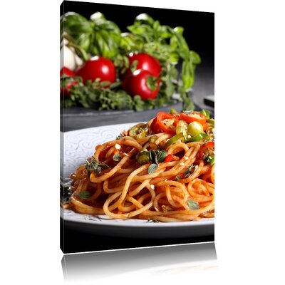 Pixxprint Delicious Spaghetti Italia with Herbs Photographic Print on Canvas