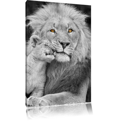 Pixxprint Imposing Tiger with Cub Black and White Photographic Print on Canvas