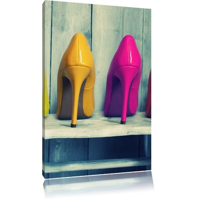 Pixxprint Colourful Lacquered Fashion High Heels Photographic Print on Canvas