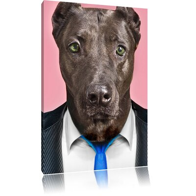 Pixxprint Dog in Stylish Suit Photographic Print on Canvas