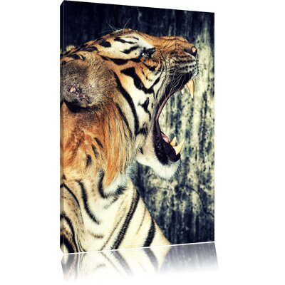 Pixxprint Imposing Roaring Tiger Photographic Print on Canvas