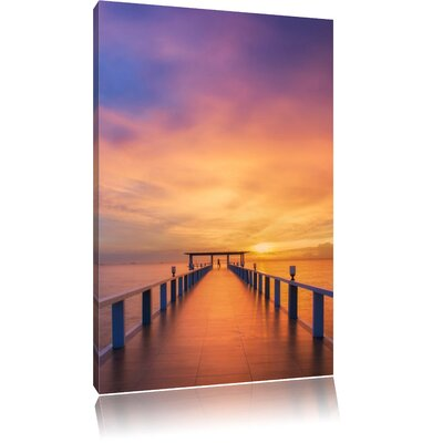 Pixxprint Broad Ocean Stone Walk Photographic Print on Canvas