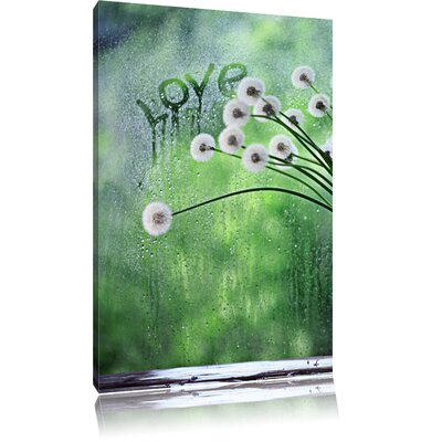 Pixxprint Delicate Bouquet of Dandelion Flowers in the Window Photographic Print on Canvas