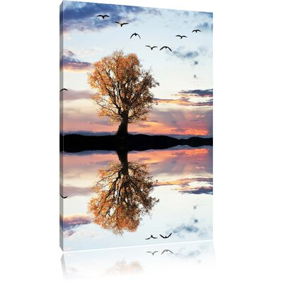 Pixxprint Lonesome Autumn Tree Reflections in Still Water Photographic Print on Canvas