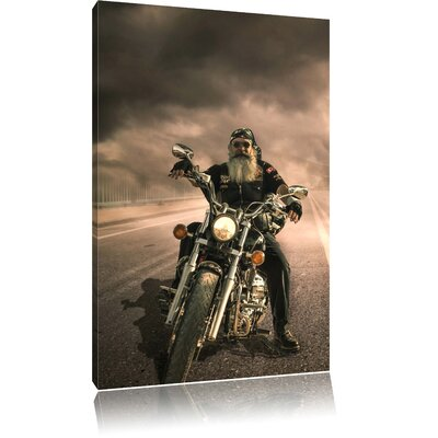 Pixxprint Biker on Foggy Highway Photographic Print on Canvas