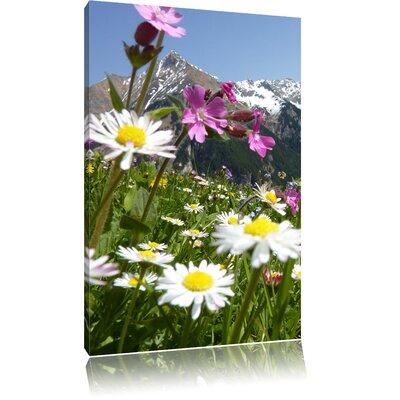 Pixxprint Flowery Alpine Meadow Photographic Print on Canvas