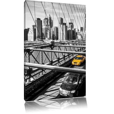 Pixxprint Yellow Taxi on Bridge Photographic Print on Canvas