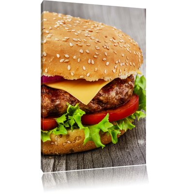 Pixxprint Delicious Fresh Cheeseburger with Lots of Vegetables Photographic Print on Canvas