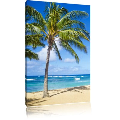 Pixxprint Breathtakingly Beautiful Caribbean Beach Photographic Print on Canvas