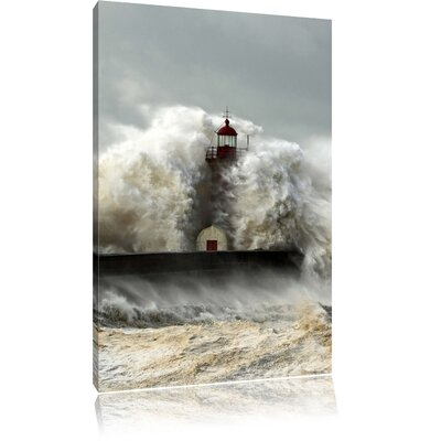 Pixxprint High Storm Waves Meet the Lighthouse Photographic Print on Canvas