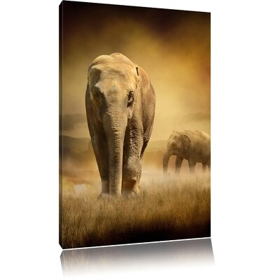 Pixxprint Magnificient Elephant Herd in Wild Grass Photographic Print on Canvas