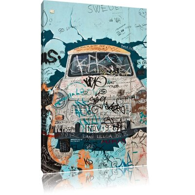 Pixxprint Trabant Through Wall Photographic Print on Canvas