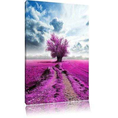 Pixxprint Colourful Field with Pink Tree Photographic Print on Canvas