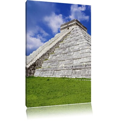 Pixxprint White Maya Temple in Mexico Photographic Print on Canvas
