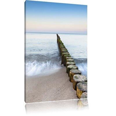 Pixxprint Old Ocean Tree Stump Walkway Photographic Print on Canvas