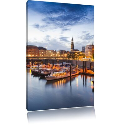 Pixxprint Romantic Hamburg Harbour in the Evening Photographic Print on Canvas