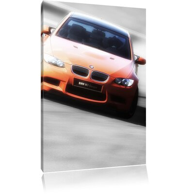Pixxprint Sporty BMW Black and White Photographic Print on Canvas
