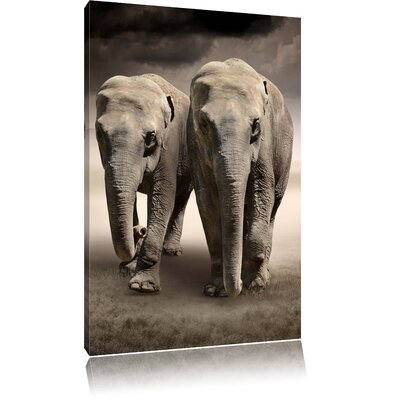 Pixxprint Majestic Elephants in the Steppe Photographic Print on Canvas