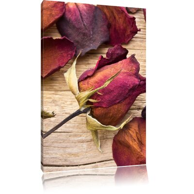 Pixxprint Dried Rose Petals on Wood Photographic Print on Canvas