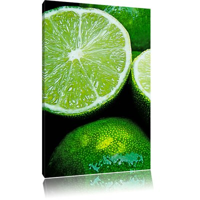 Pixxprint Fresh Lime Halves Photographic Print on Canvas