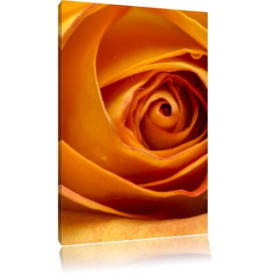 Pixxprint Magnificent Yellow Rose Photographic Print on Canvas