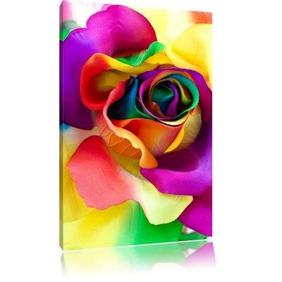 Pixxprint Multi-Colour Artful Rose Blossoms Photographic Print on Canvas