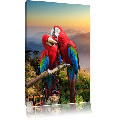 Pixxprint Affectionate Parrot Couple on Branch Photographic Print on Canvas