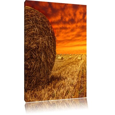 Pixxprint Golden Field at Sunset Photographic Print on Canvas