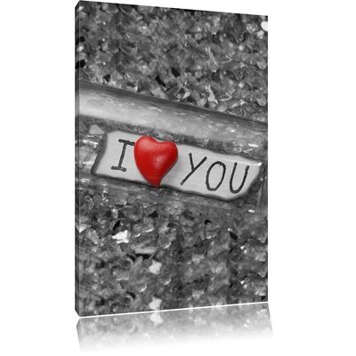 Pixxprint I Love You Message in a Bottle Photographic Print on Canvas