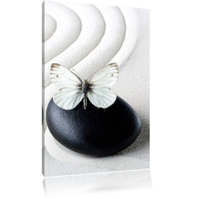 Pixxprint White Butterfly on Zen Stones in Sand Photographic Print on Canvas