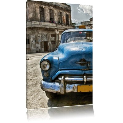 Pixxprint Blue Beetle Old Town Photographic Print on Canvas