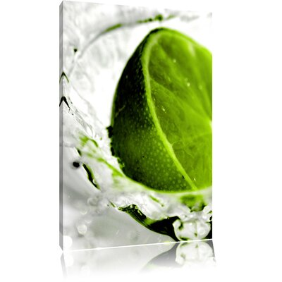 Pixxprint Refreshing Lime Immersed in Water Photographic Print on Canvas