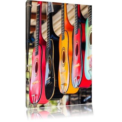 Pixxprint Colourful Guitars Photographic Print on Canvas