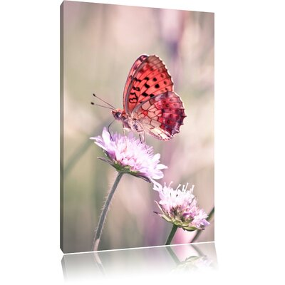 Pixxprint Tiny Red Butterfly on Small Blossom Photographic Print on Canvas