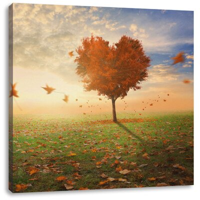 Pixxprint Heart-Shaped Tree in Autumn Photographic Print on Canvas