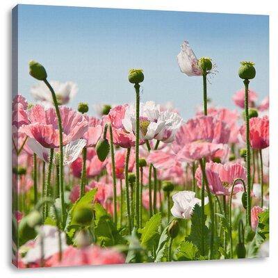 Pixxprint Poppy Flower Meadow Photographic Print on Canvas
