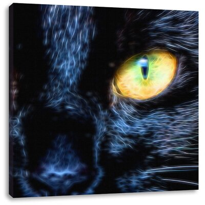 Pixxprint Black Cat with Orange Eyes Photographic Print on Canvas