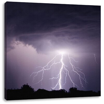 Pixxprint Lightning Strikes Photographic Print on Canvas