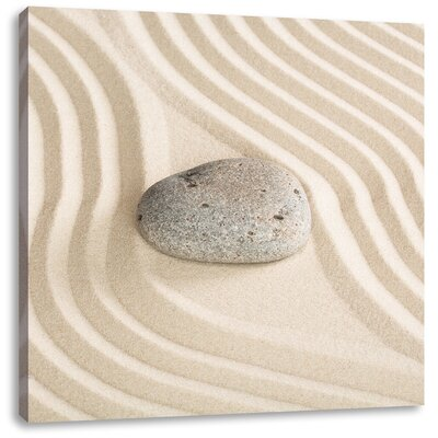 Pixxprint Rocks in Patterned Sand Photographic Print on Canvas