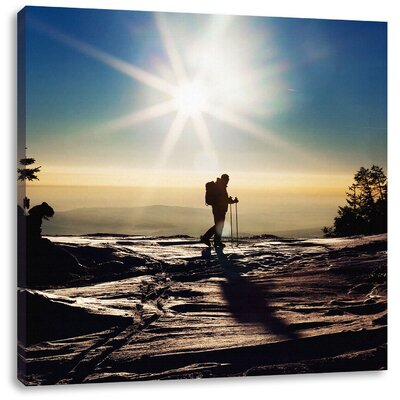Pixxprint Winter Sports at Sunset Photographic Print on Canvas