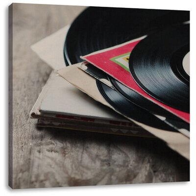 Pixxprint Retro Record Photographic Print on Canvas