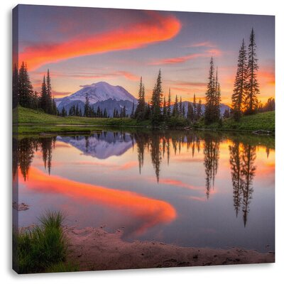 Pixxprint Mountain Lake at Dusk Photographic Print on Canvas