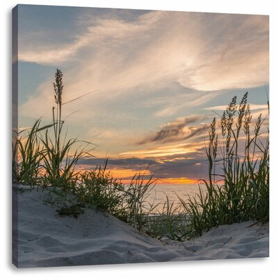 Pixxprint Wild Grass at the Beach at Dusk Photographic Print on Canvas