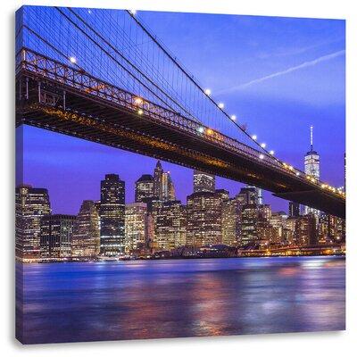 Pixxprint New York Brooklyn Bridge Photographic Print on Canvas