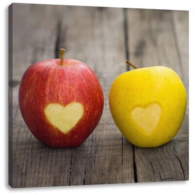 Pixxprint Little Hearts Carved into Apples Photographic Print on Canvas