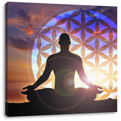 Pixxprint Enlightening Meditation with Flower of Life Photographic Print on Canvas