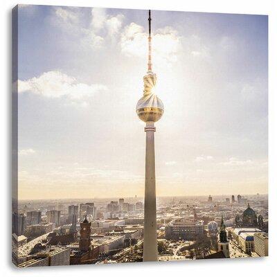 Pixxprint Berlin TV Tower Photographic Print on Canvas