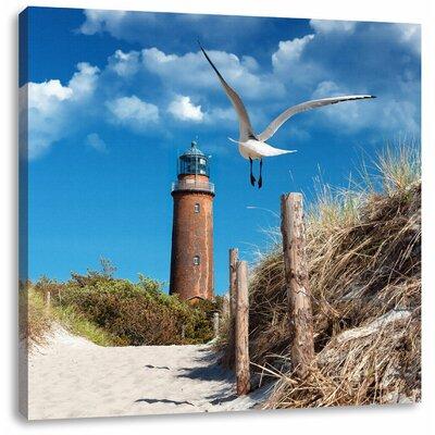 Pixxprint Beautiful Beach Lighthouse Photographic Print on Canvas